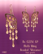 Butterfly Wing Earrings with Flowing Pearls