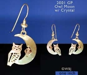 Owl Earrings with Swarovski Crystal Moon Beads