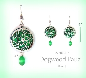 Dogwood Earrings with Green Paua Shell and Optic Bead