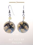 Falcon Flying with Mother of Pearl Earrings