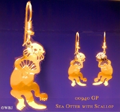 Sea Otter holding Scallop Earrings