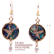 Hummingbird Earrings with Paua and Pearl