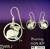 Bunny in a Circle Earrings
