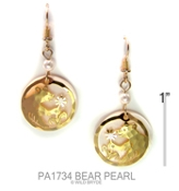 Bear Cub Earring with Mother of Pearl Cabochon