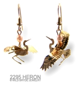 3-D Heron Earrings with Pink Pearl