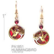 Hummingbird Earrings with Paua and Garnet