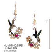 Hummingbird Flower Earrings with Garnet Beads