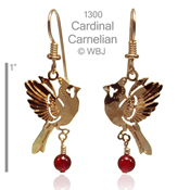 Cardinal with Carnelian Earrings