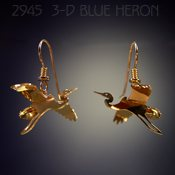 3-D Crane in Flight Earrings