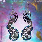 Showy Blue Peacock Earrings