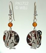 Squirrel Earrings with Paua Shell and Amber
