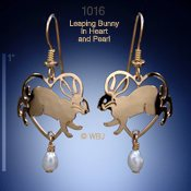Leaping Bunny Heart Earrings