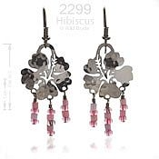 Pink Hibiscus Earrings with Glass Beads