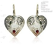 Garnet  Love Heart Earrings