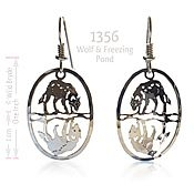 Wolf on Freezing Pond Earrings