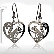 Squirrel in Heart Earrings
