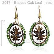 Beaded Oak Leaf Earrings