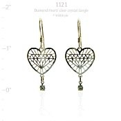 Diamond Heart with Crystal Dangle Earrings
