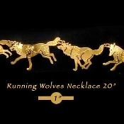 Running Wolves Necklace 20""