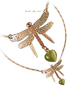 Dragonfly Necklace with Optic Heart Bead