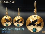 Hawk Earrings with Turquoise Bead