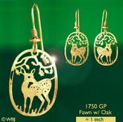 Fawn with Oak Earrings