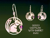 Chipmunk Earrings with Garnet Beads