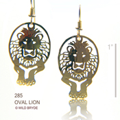 Oval Lion Earrings