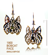 Bobcat Face Earrings