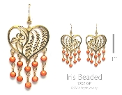 Heart Shaped Beaded Iris Earrings