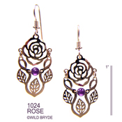 Two piece Rose Earrings with Amethyst Beads
