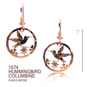 Hummingbird Earrings with Columbine Flowers
