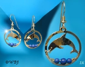 Small Dolphin Earrings with Lapis Beads