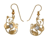 Rolling Panda Earrings with Optic Beads