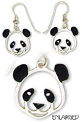 Hand Painted Panda Portrait Earrings