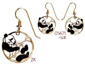 Hand Painted Yin and Yang Panda Earrings