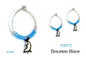 Beaded Dolphin Hoops