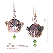 Butterfly Earrings with Paua Shell