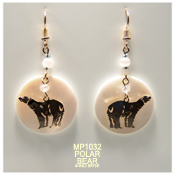 Polar Bear Earrings with Mother of Pearl Cabochon