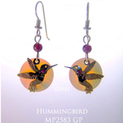 Hummingbird Earrings with Mother of Pearl Cabochons