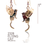 3-D Flying Cat earrings