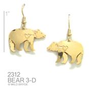 3-D Black Bear Earrings
