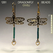 Dragonfly Earrings with Iridescent blue beads