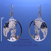 Mother Cat Licking Kitten Earrings
