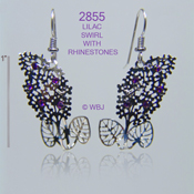 Lilac Swirl Earrings with Swarovski Rhinestones