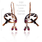 Hummer's Love Fuchsia and Garnet Earrings