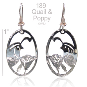 Large Quail and Poppy Earrings