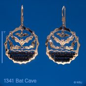 Bats in Cave Earrings with Black Beads