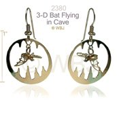 3-D Bat Flying in Cave Earrings