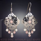 Pink Beaded Antherium Quilt Earrings